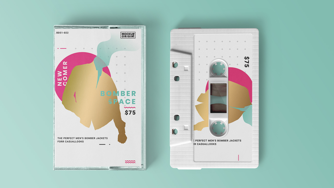 Cassette Tape with Case Mockup Free PSD