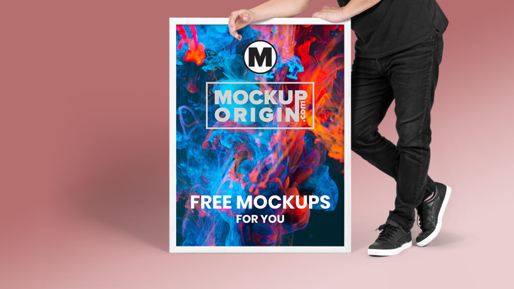 Poster With Man Mockup Free PSD