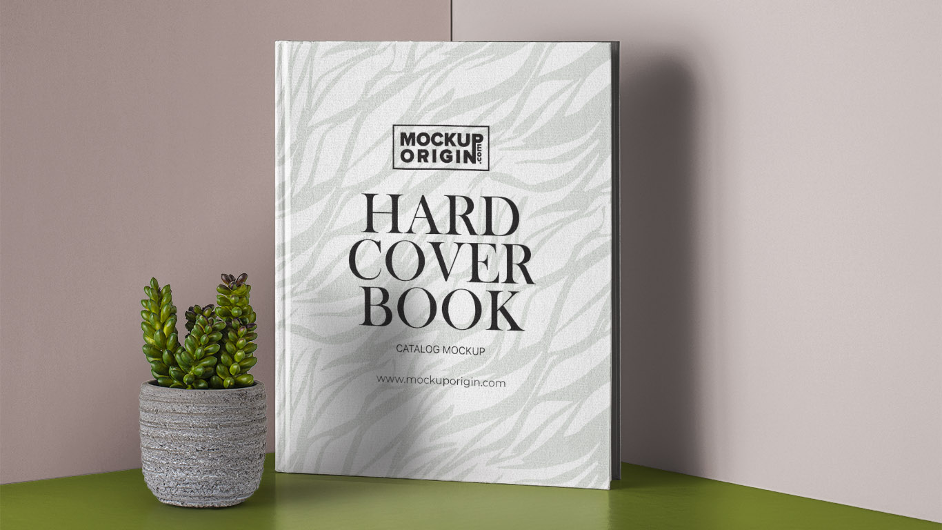 Hardcover Book With Pot Mockup Free PSD