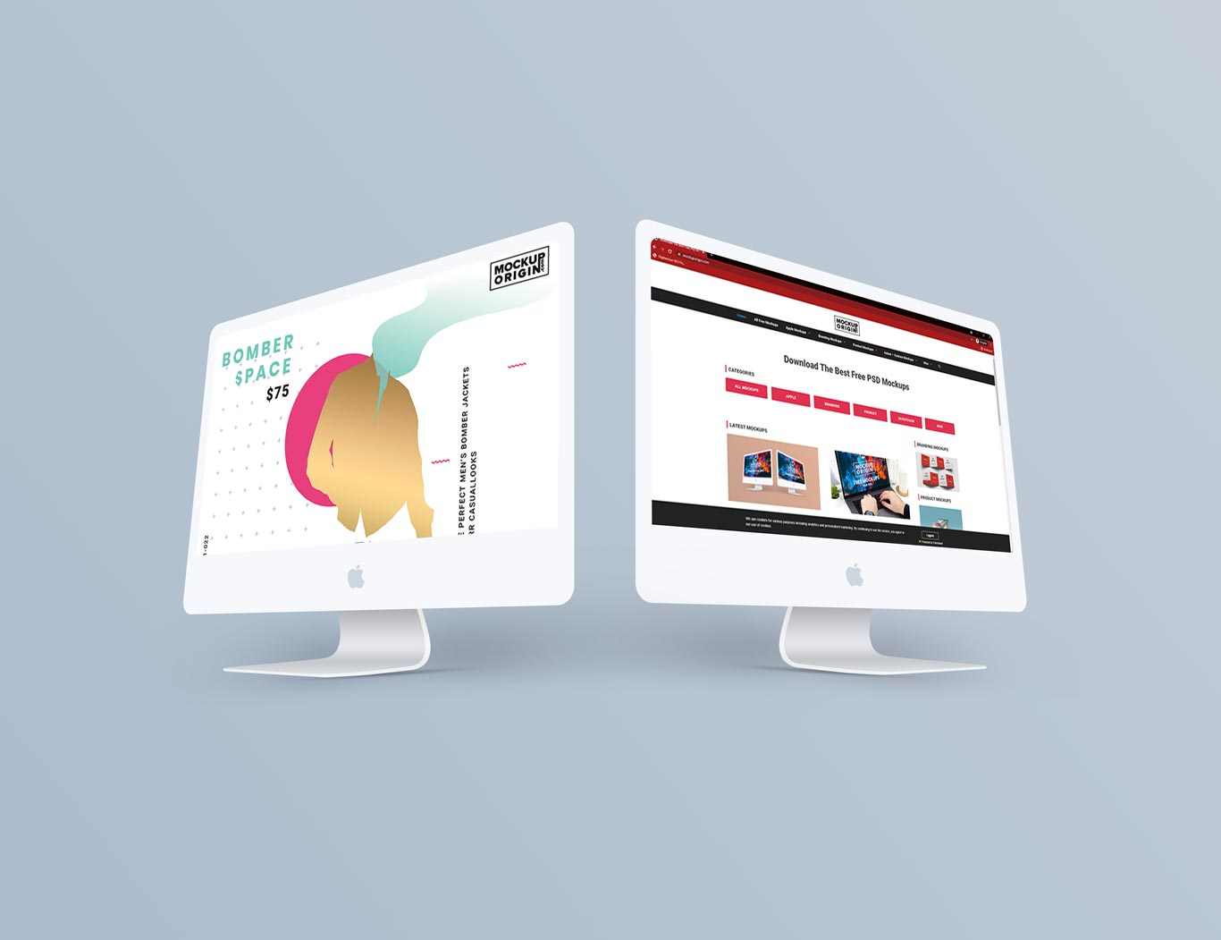 Perspective View of iMacs Free Mockup